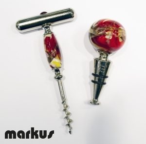 Set of Stopper and corkscrew red color