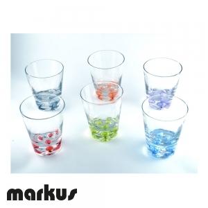 Set di 6 bicchieri multicolore con bolle
