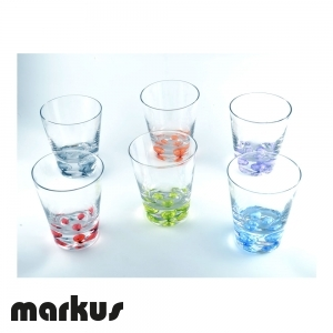 Set of 6 multicolor glasses with air bubbles