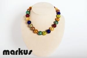 Collana in vetro multicolore perla rotonda