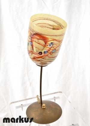 Lampada da tavolo color bronzo con 1 paralume in vetro di Murano