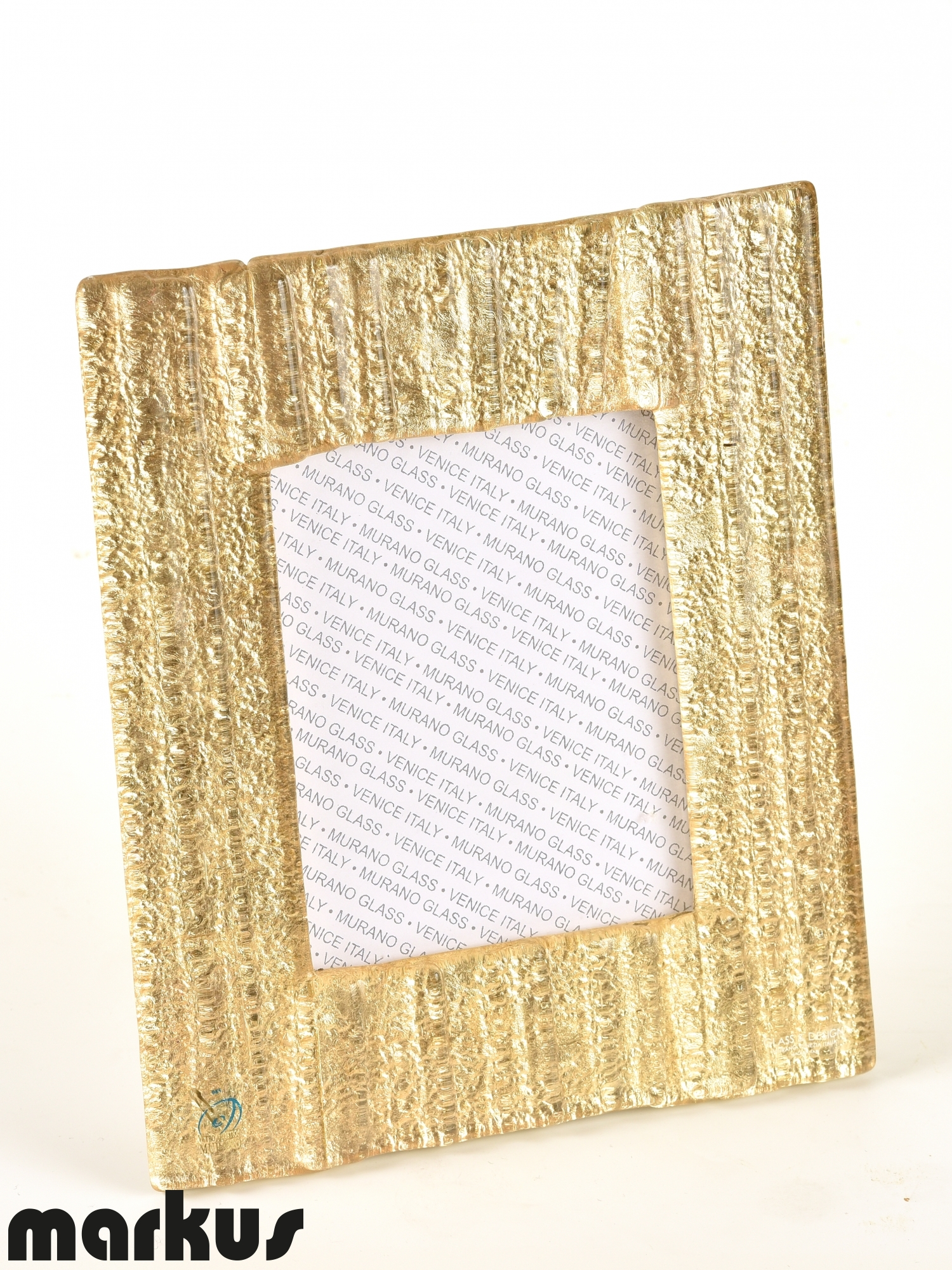 Murano glass picture frame with gold leaf small size