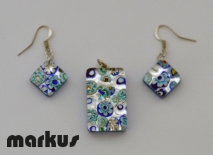 Parure mosaic and white gold