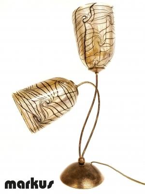 Lampada in metallo bronzeo con 2 paralumi in vetro di Murano