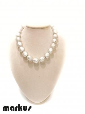 Collana in vetro colore oro bianco perla rotonda