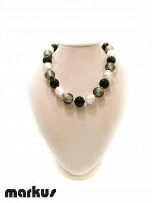 Collana in vetro colore oro bianconero e grigio perla rotonda
