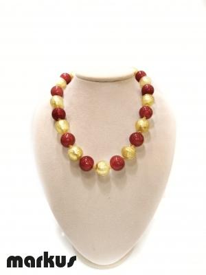 Collana in vetro colore oro e rosso
