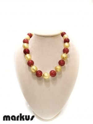 Glass necklace with round beads  gold and red