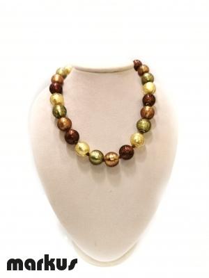 Collana in vetro colore oro ambra verde e  bronzo
