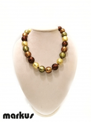Glass necklace with round beads  gold amber green and bronze
