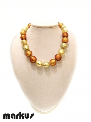 Glass necklace with round beads  gold, amber, light gold and bronze
