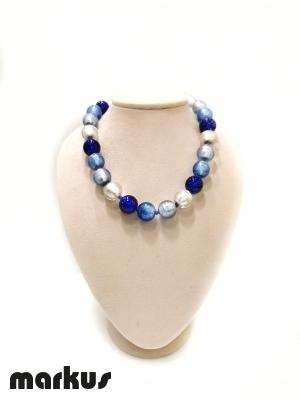 Collana in vetro colore oro bianco, blu,bluino e azzurro