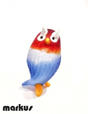 Frosted Owl Blue and Red  color