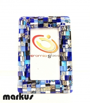 24 k Gold picture frame with blue mosaic small size