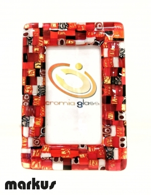 24 k Gold picture frame with red mosaic small size