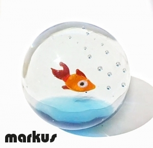 Glass ball with glass red fish medium size