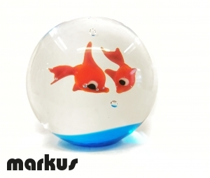 Glass ball with 2 red fishes big size