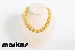 Collana in vetro colore oro perla rotonda