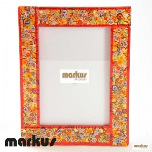 Red glass picture frame medium small size