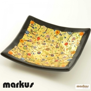 Black and gold square plate small size