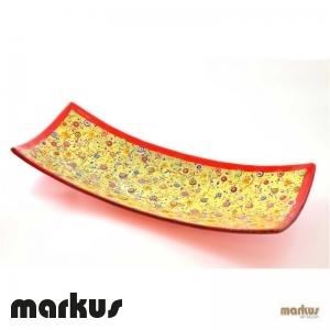 Piatto rettangolare rosso oro misura grande