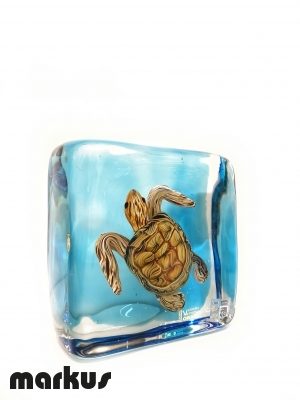 Glass  submerged turtle small size