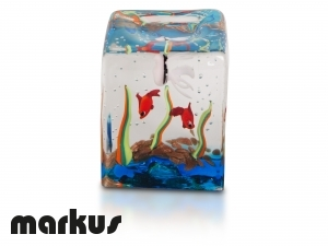 Glass cube with red fishes