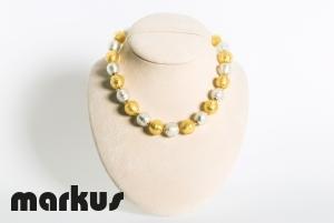 Collana in vetro colore oro bianco e giallo perla rotonda