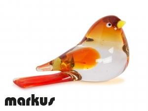 RED & AMBER GLASS BIRD