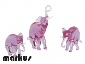 FAMILY OF GLASS ELEPHANTS ALESSANDRITE COLOR