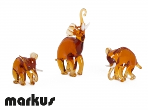 FAMILY OF GLASS ELEPHANTS AMBER COLOR