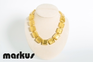 Glass necklace square beads, with gold leaf